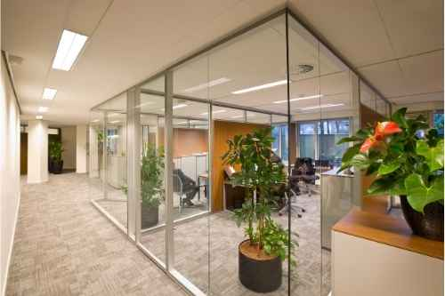 Office with Commercial Custom Glass Gimbal Frames