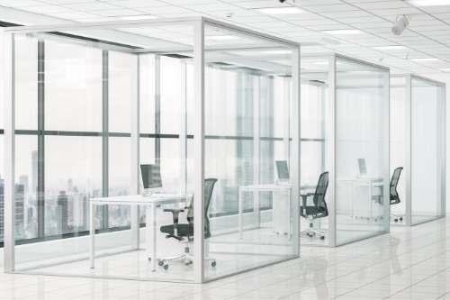 Office with custom glass window walls