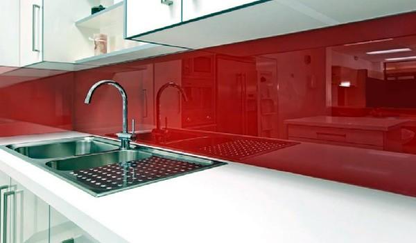 custom kitchen red glass blacksplash
