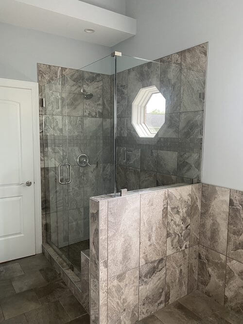 Custom Shower with glass door repair